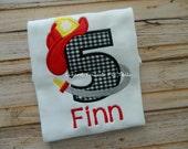 Birthday Fire Hat Fire Man Birthday Shirt Boys or Girls Fire Truck Birthday Party Shirt