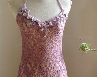 Dusty purple sensual stretch lace dress