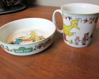 ReDuCeD!   SESAME STREET Muppets Fine China Cup or Mug and Saucer / Bowl by Gorham Japanese Japan 1976 Jim Henson