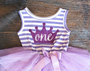 Princess Birthday Tutu Dress Pink and White Striped, Purple and White, or Black and White Striped First or Second Birthday Photo Session Cak
