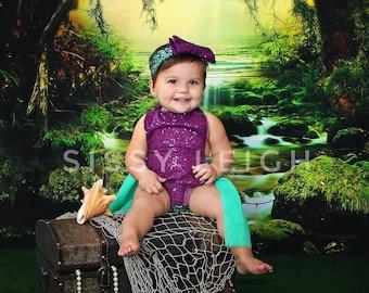 Mermaid Purple Sequin Romper Headband Set Tutu Halloween Infant Toddler Girls First Birthday Photo Prop Outfit