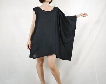 Sleeveless With One-Side Poncho Styling Wide Scoop Neck Asymmetrical Hem Black Light Cotton Blouse Tunic Top