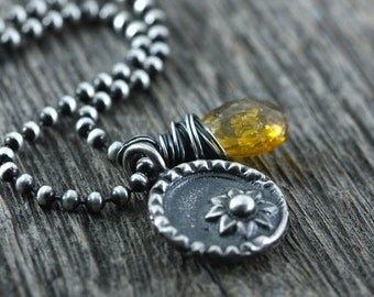 Rustic Sterling Silver Flower Necklace, Yellow Tourmaline Gemstone, Cowgirl Jewelry, Sunflower Necklace