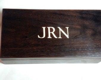 Desk Box Valet Box Mens Jewelry Box Black with Monogram
