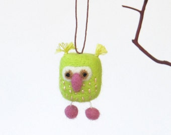 Miniature Needle Felted owl, small felt owl ornament - lime green and pink. Woodland gift.
