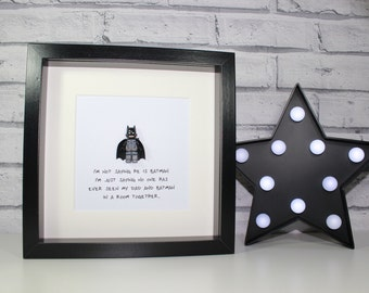 FATHERS DAY SPECIAL - Batman - Dad or daddy - Framed minifigure