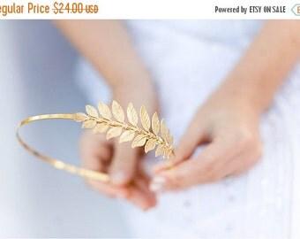 Valentines Day Sale Golden Goddess Leaf Headband - SImple Leaf Headband, Bridal, Everyday, Golden Laurel Leaf, Boho Headpiece