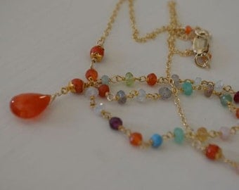 Multi gemstone gold filled necklace with orange moonstone teardrop