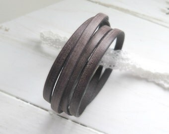 Boho Leather Wrap Bracelet / Rustic Brown Leather Bracelet / Boho Chic Bracelet / Brown Leather Cuff / Urban Hipster / Camping Inspired