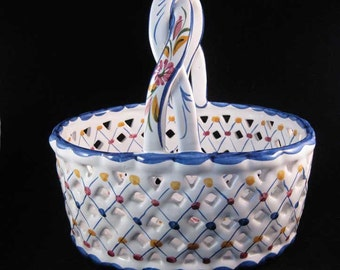 Portugal Hand Painted Ceramic Pottery Basket Signed & Numbered