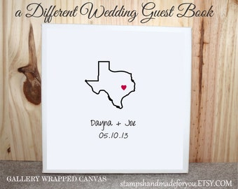 Unique Wedding guest book Alternative Canvas Art  gallery wrapped Wedding Guest book made to order