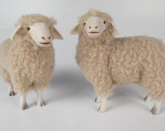 Colin's Creatures  Rambouillet Ewe Figures in Porcelain and Wool