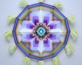 Sudden Flowering, 22 inch, 12-sided yarn mandala, in stock, ready to ship
