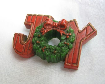 Vintage Christmas Hallmark resin JOY brooch JOY pin