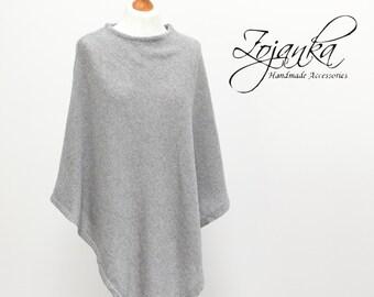 women PONCHO, cashmere poncho cape L-XL size, light GRAY poncho, autumn fashion, gift ideas, poncho wrap