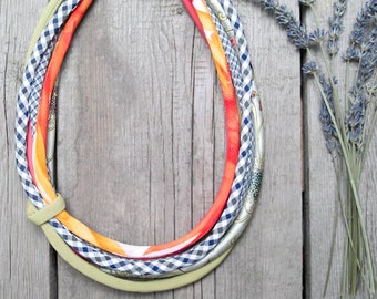 SPRING necklace, statement textile necklace, fabric jewelry, BOHO style necklace, gift for her