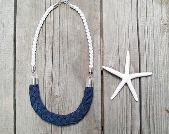 ROPE necklace, nautical neckalce, fabric necklace, gift ideas, marine style, gift for her, simple necklace, statement necklace