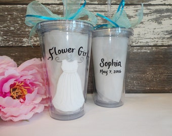 """Bridesmaid and Flower Girl Acrylic Tumblers - """"PERSONALIZED to YOUR DRESS """" - Bridal Party Glassware - Bridal Wine Glass"""