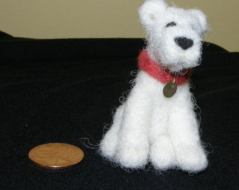 Mini White Terrier Dog in Needle Felted Wool