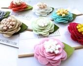 Felt Flower Headband - Baby Headband - Newborn Headband - Camellia - Single Blossom Hairband - Baby Girl Gift - Baby Shower Gift