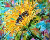 Original oil painting Sunflower abstract palette knife impressionism on canvas fine art by Karen Tarlton