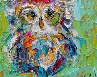 Owl painting original oil 6x6 palette knife impressionism on canvas fine art by Karen Tarlton