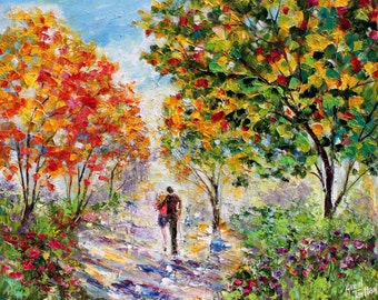 Original oil painting Autumn in Love - romance landscape palette knife impressionism on canvas 24x20 fine art by Karen Tarlton