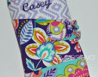 Personalized Purple Fiesta Geometric Floral Crochet Hook Case with Sewn in Zipper Pocket Grey Teal Blush Pink