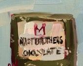 Artisan Chocolate Still Life original Sweets Series oil painting by Angela Moulton 4 x 4 inch on birch plywood panel ON SALE