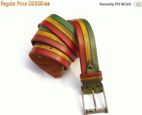 20% SALE for father Gift for men Red Yellow Green Rastafarian Leather Belt Inspired Bob Marley Style Belt, rastafarian clothing,