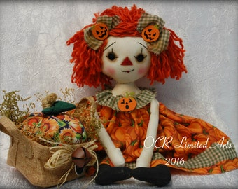 ON SaLe Raggedy Pumpkin  Ann-Thanksgiving cute Halloween Autumn Fall ooak primitive folk art home decor collectable pumpkin broom
