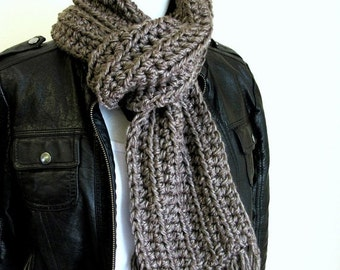 ON SALE Grey Hand Knit Scarf - Mens Long Scarf - Fringed - Crochet - Taupe