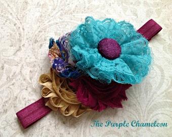 Plum Purple and Turquoise Lace Headband Gold Wedding Bridal Bridesmaids Flower Girl Shabby Chic Boho Woodland
