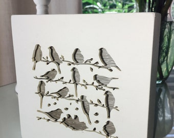 Handmade shadow box, laser cut plaque, wall art, wood wall art, mixed media, typography, birds