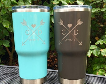 Custom Arrow monogram, with/without state, RTIC, YETI vacuum insulated tumbler, powder coated and laser engraved/etched