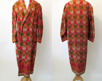 """Awesome 1930's  Deco Original  """"Beacon Ombre"""" Robe/ Coat Bohemian Western Style Chic Rockabilly Vintage robe coat Size Large/ Xlarge"""