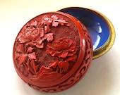 Vintage Chinese Carved Cinnabar Enamel Trinket Box