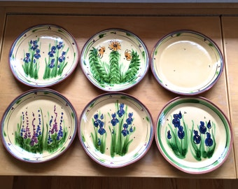Vintage Set of 16 Signed Terracotta Mexican Pottery Dishes Mexican Plates Folk Art