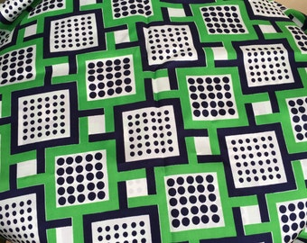 Vintage Mod Fabric Retro Yardage Silky Crepe Dice Squares ON SALE