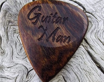 Wood Guitar Pick - Premium Quality - Handmade From Caribbean Rosewood - Laser Engraved On Each Side - Actual Pick Shown - Artisan Pick