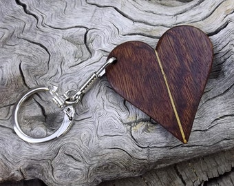 Heart Shaped Wooden Key Chain - Key Ring - Premium Quality - Handmade With Caribbean Rosewood & Lati Wood