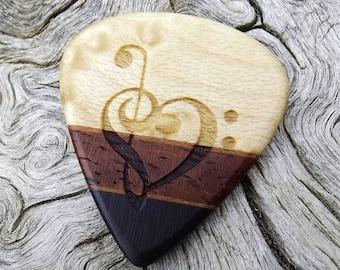 Handmade Multi-Wood Premium Guitar Pick - Jazz Stubby - Actual Pick Shown - Engraved Both Sides - Artisan Guitar Pick