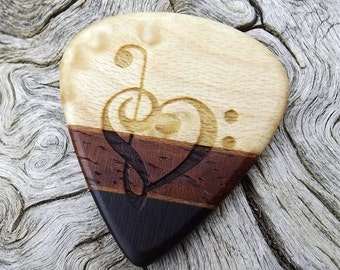 Multi-Wood Jazz Stubby Guitar Pick - Premium Quality - Handmade - Laser Engraved Both Sides - Actual Pick Shown - Artisan Guitar Pick