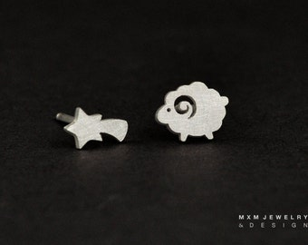 Sterling Silver Little Sheep & Shooting Star Stud Earrings