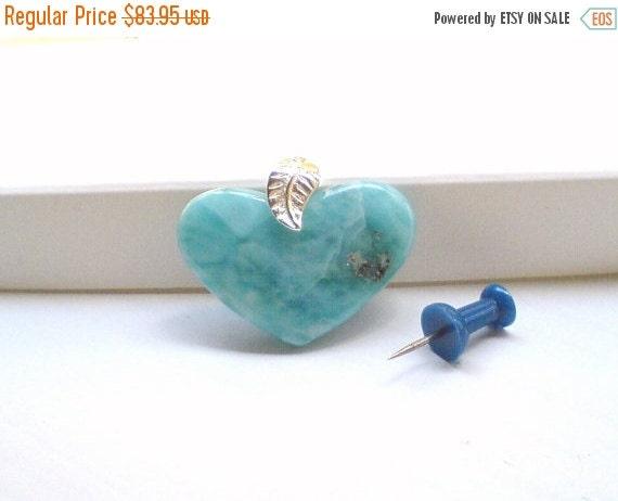 ON SALE Larimar Jewelry Larimar heart pendant  Turquoise heart blue jewelry