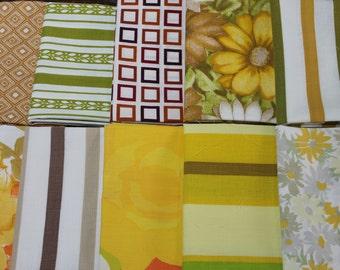 Vintage Reclaimed Fabric fat quarter bundle bed sheet bed linen fabric Brown Orange Yellow geometric stripe floral quilt decor fabric 10 FQ