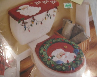 Bucilla Christmas Decor Kit for Powder Room - Felt Cover for Tank and Seat - Like New- Unopened Package