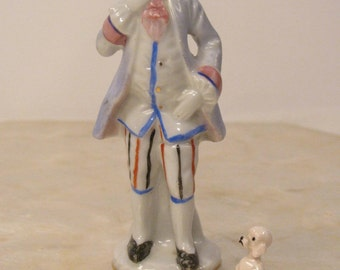 Miniature Tiny Poodle China Figurine w/ French Gentleman  - Great Condition