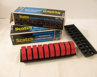 """Scotch Brand Magnetic Labeling Tape  - Box of 10 Red Rolls - 1/2"""" Wide  - No. 763"""