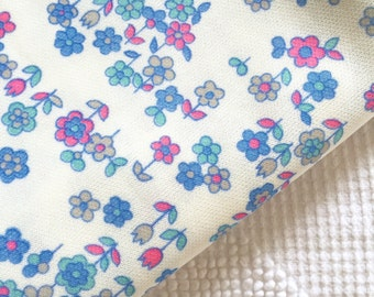 Vintage Fun and Funky Blue Pink Daisies on Polyester Flower Power Fabric 70's